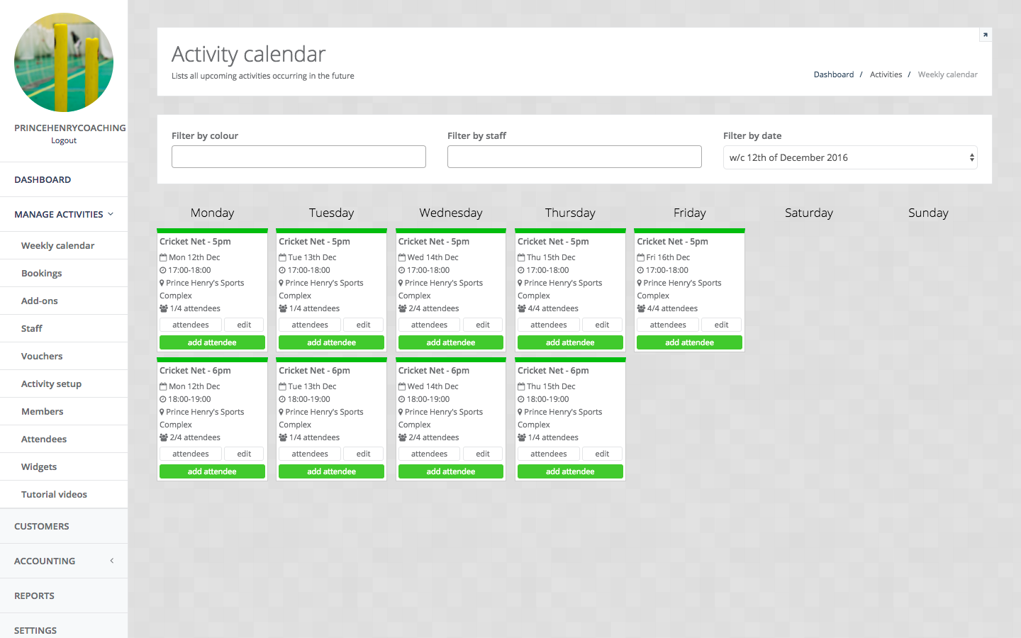 Calendar Booking System Php : Openplay activity provider booking system
