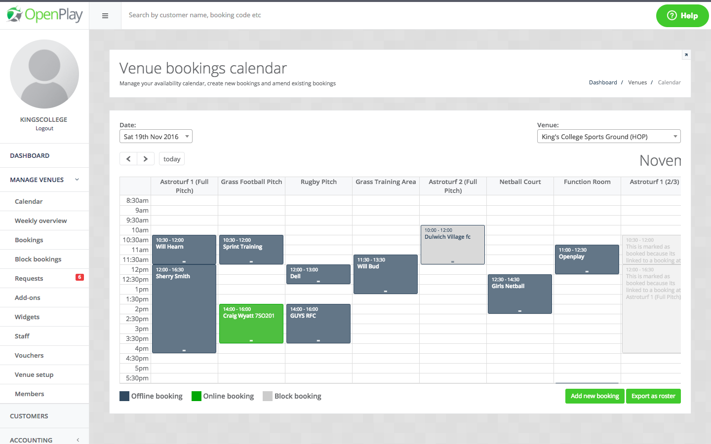 Calendar Booking System Php : Openplay facility booking system